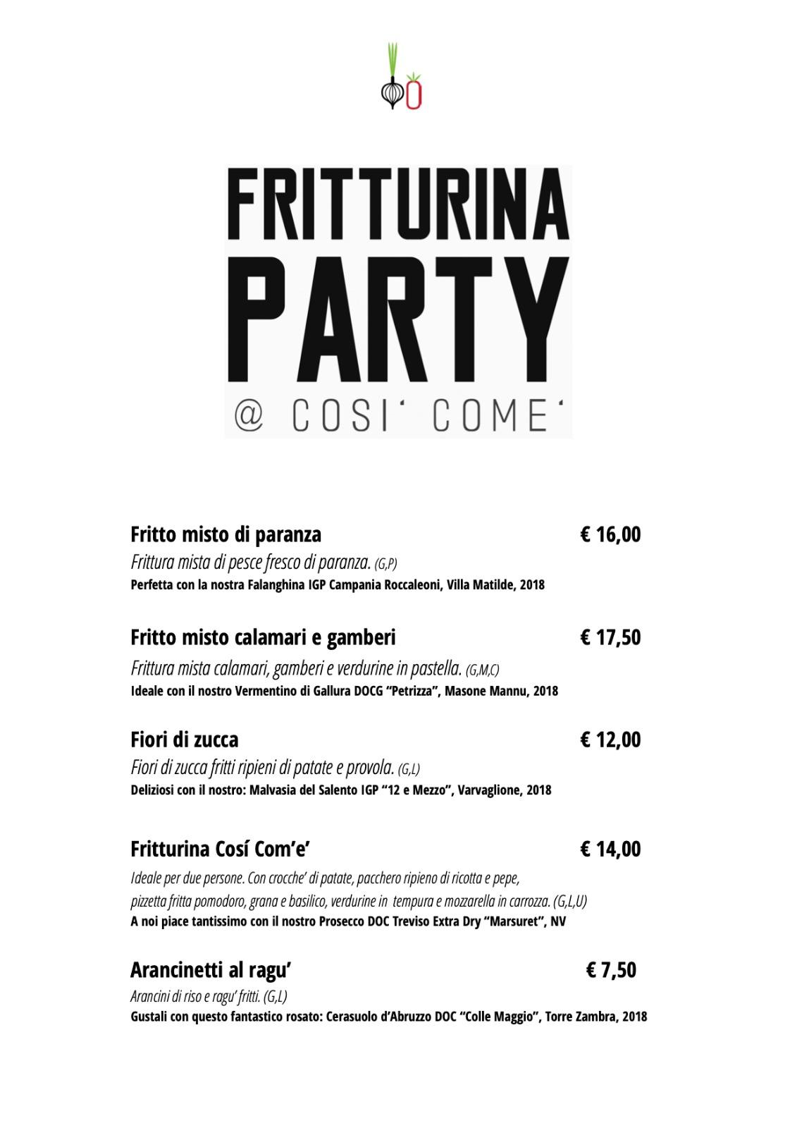 Fritturaina menu riapertura delivery
