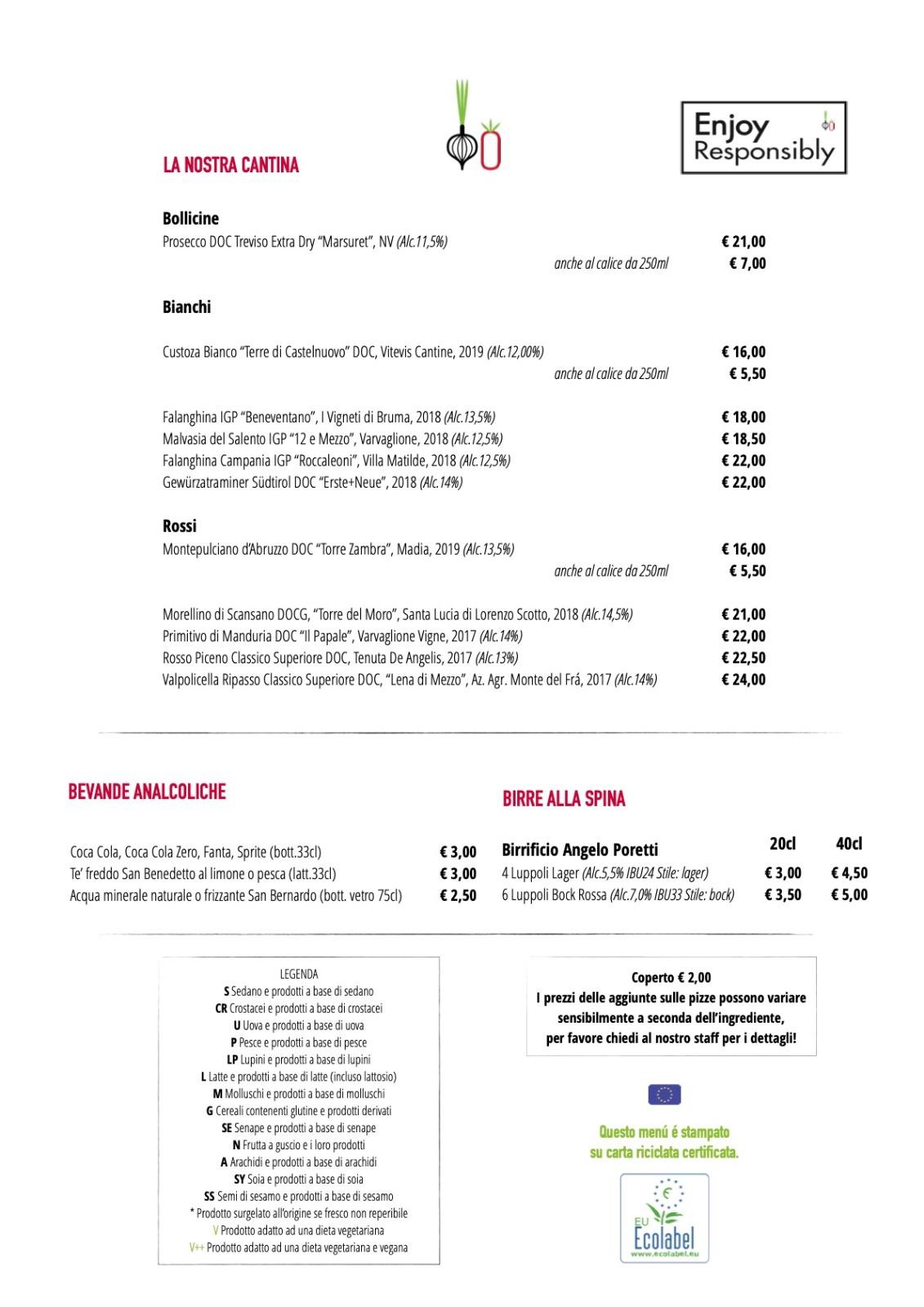Menu Cosi Com'è Varese Feb 2021 Cantina e Bevande